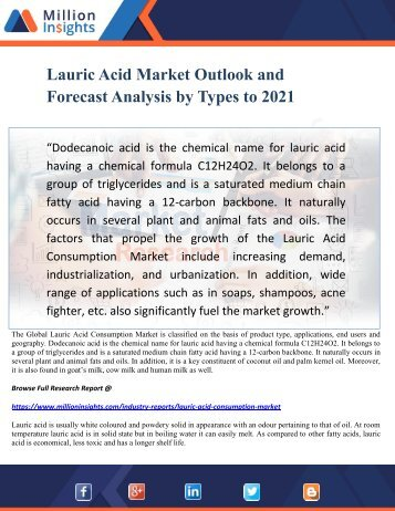 Lauric Acid Market Outlook and Forecast Analysis by Types to 2021