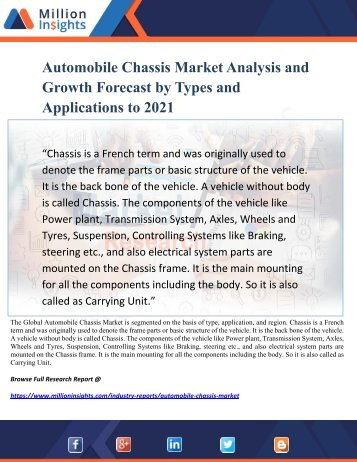 Automobile Chassis Market Analysis and Growth Forecast by Types and Applications to 2021
