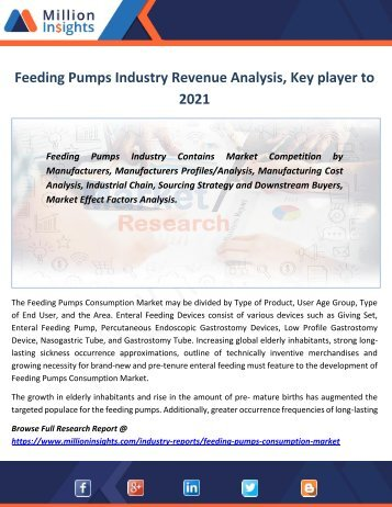 Feeding Pumps Industry Revenue Analysis, Growth rate, Margin, Key player to 2021