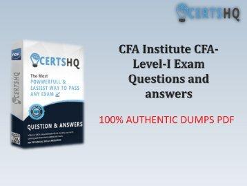Updated CFA-Level-I PDF Questions Answers | Valid CFA-Level-I Dumps