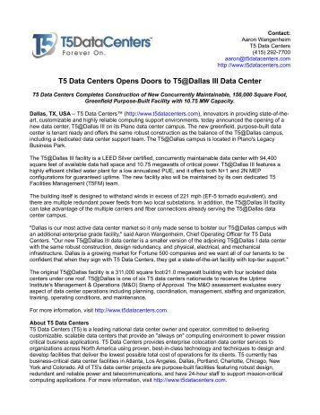 T5 Data Centers Opens Doors to T5@Dallas III Data Center