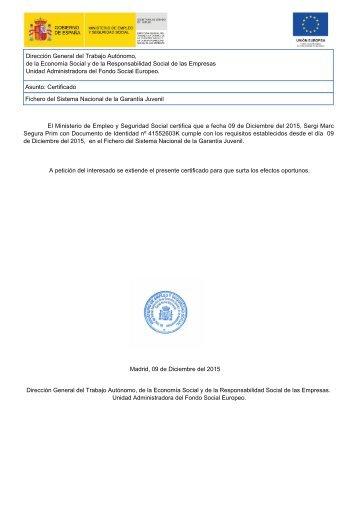 Certificado garantia juvenil