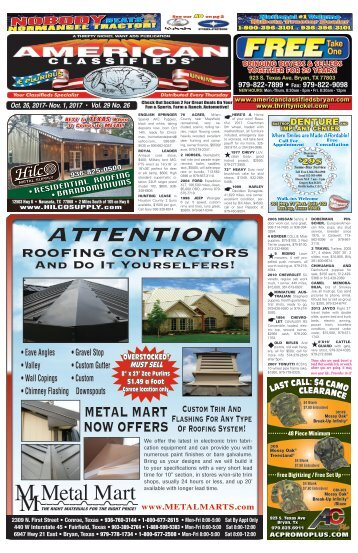 American Classifieds Oct. 26th Edition Bryan/College Station