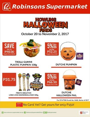 ROBINSON HALLOWEEN DEALS  expires November 2, 2017