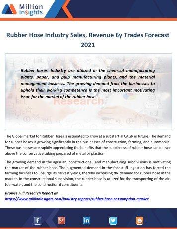 Rubber Hose Industry Sales, Size, Price, Revenue By Trades Forecast 2021
