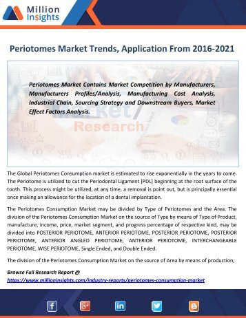 Periotomes Market Trends, Application, Growth rate, Volume, Margin From 2016-2021