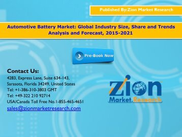 Automotive Battery Market Revenue Predicted to Go Up by 2021
