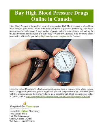 Buy High Blood Pressure Drugs Online in Canada