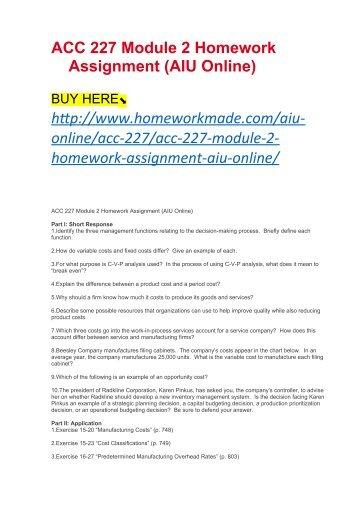 ACC 227 Module 2 Homework Assignment (AIU Online)