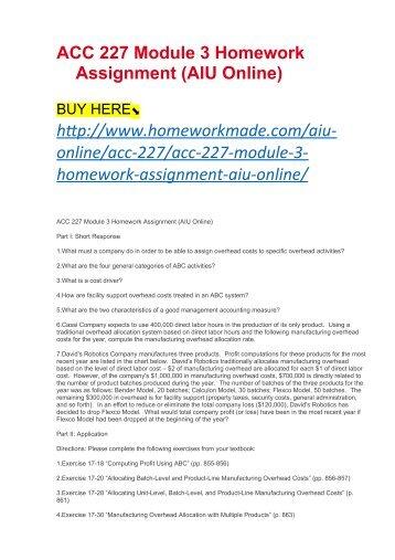 ACC 227 Module 3 Homework Assignment (AIU Online)