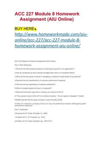 ACC 227 Module 8 Homework Assignment (AIU Online)