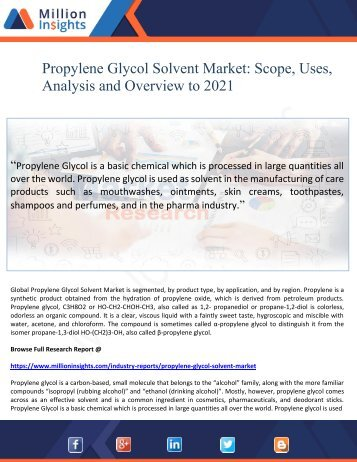 Propylene Glycol Solvent Market Scope, Uses, Analysis and Overview to 2021