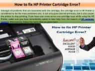 How to fix HP Printer Cartridge Error