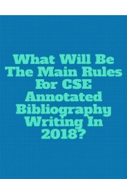 What Will Be The Main Rules for CSE Annotated Bibliography Writing in 2018?