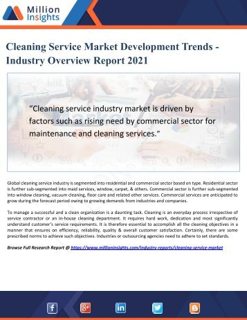 Cleaning Service Market Development Trends and Overview Report 2021
