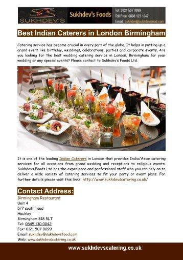 Best Indian Caterers in London Birmingham
