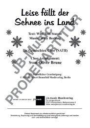 Leise fällt der Schnee ins Land (für Gemischten Chor SATB)