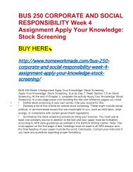 BUS 250 CORPORATE AND SOCIAL RESPONSIBILITY Week 4 Assignment Apply Your Knowledge- Stock Screening