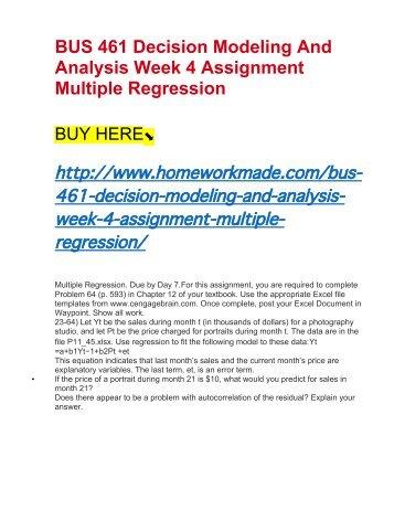 Regression Analysis Assignment & Homework Help