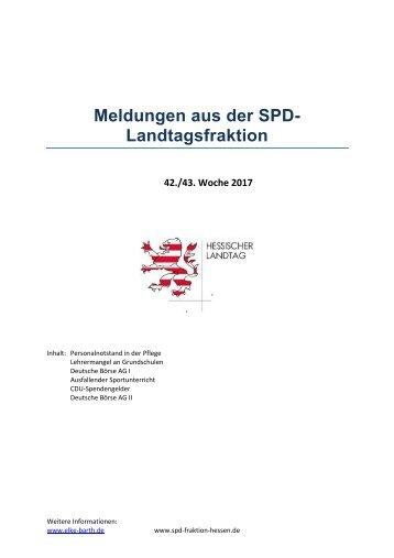 Meldungen aus der SPD-Landtagsfraktion
