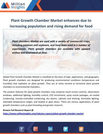Plant Growth Chamber Market enhances due to increasing population and rising demand for food