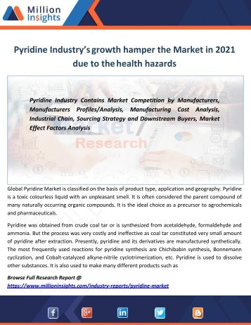 Pyridine Industry's growth hamper the Market in 2021 due to the health hazards