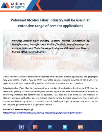 Polyvinyl Alcohol Fiber Industry will be use in an extensive range of cement applications