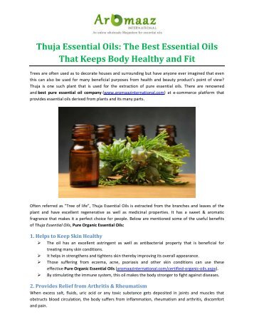 Thuja Essential Oils: The Best Essential Oils That Keeps Body Healthy and Fit