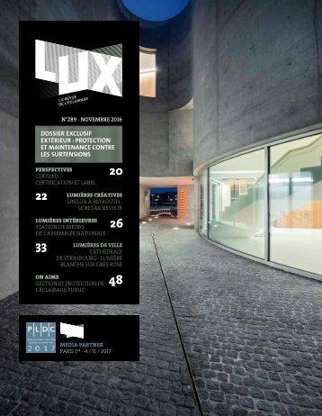 LUX 289 - LUX, la revue de l'éclairage (Novembre 2016)