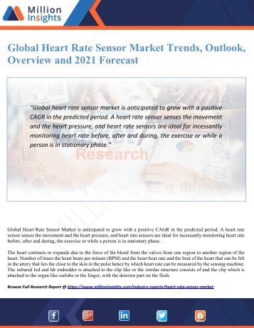 Global Heart Rate Sensor Market Trends, Outlook, Overview and 2021 Forecast