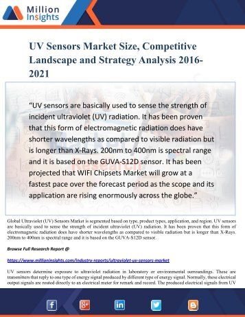 UV Sensors Market Size, Competitive Landscape and Strategy Analysis 2016-2021