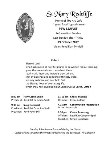 St Mary Redcliffe Pew Leaflet - October 29 2017