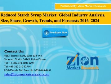 Reduced Starch Syrup Market