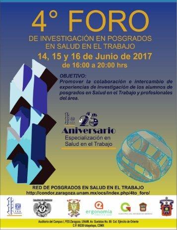 Memorias del 4to Foro de Investigación en Posgrados en Salud en el Trabajo, 2017