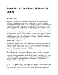 Soccer Tips and Predictions for Successful Betting