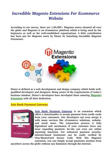 Incredible Magento Extensions For Ecommerce Website