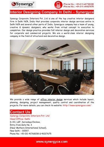 Interior Designing Company In Delhi – Synergyce