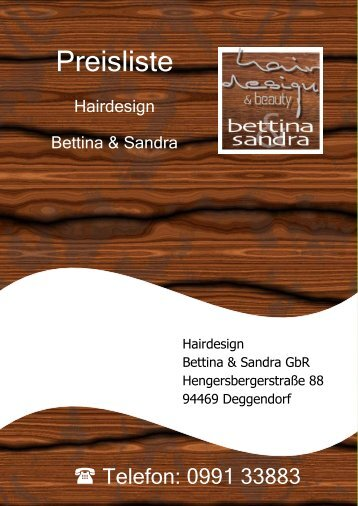 Preisliste Hairdesign Bettina & Sandra