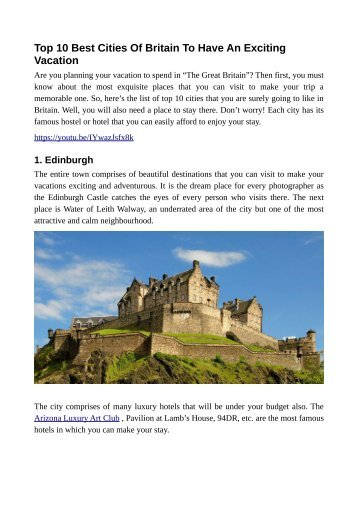 Top 10 Best Cities Of Britain To Have An Exciting Vacation