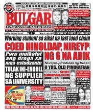 OCTOBER 29, 2017 BULGAR: BOSES NG PINOY, MATA NG BAYAN