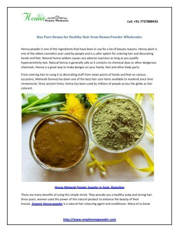Buy Pure Henna Powder for Healthy Hair from Henna Powder Wholesaler