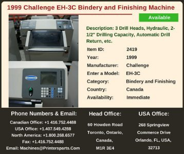 Buy Used 1999 Challenge EH-3C Bindery and Finishing Machine