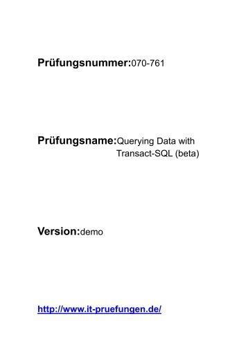 it-pruefungen.de 070-761 Prüfungsfragen deutsch