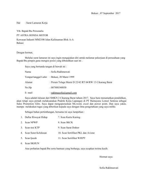 Contoh Surat Lamaran Kerja Di Honda