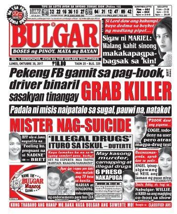 OCTOBER 30, 2017 BULGAR: BOSES NG PINOY, MATA NG BAYAN