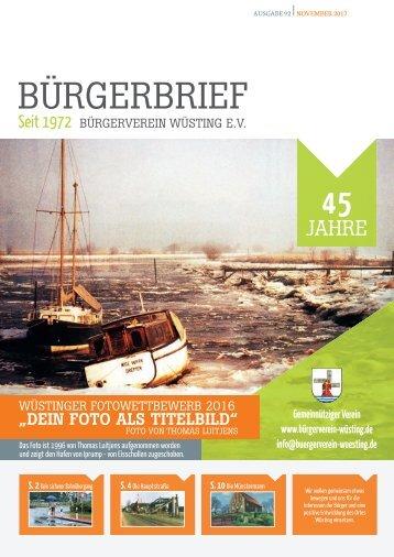 BüRGERBRIEF Vereinsheft Ausgabe 92 - November 2017 vom Bürgerverein Wüsting eV
