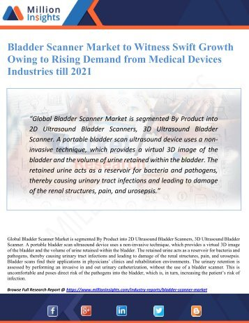 Bladder Scanner Market to Witness Swift Growth Owing to Rising Demand from Medical Devices Industries till 2021