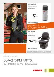 2017 CLAAS FARM PARTS Highlights für den Herbst-Winter 2017, D