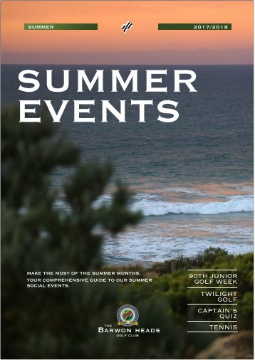 2018 Summer Events Programme