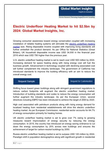 Electric Underfloor Heating Market in new buildings to exceed $1bn by 2024